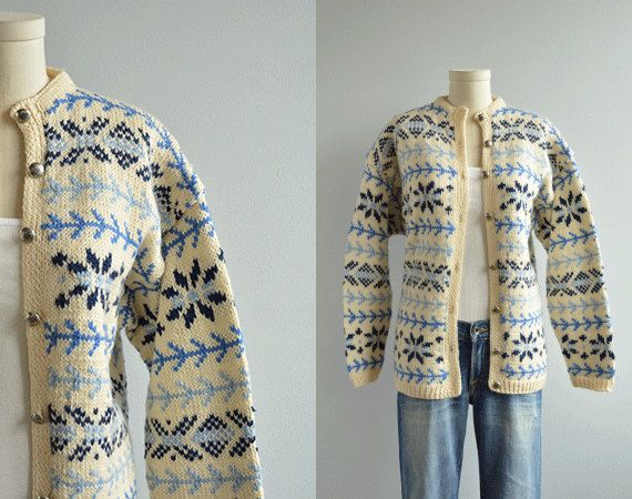 Vintage Nordic Cardigan / 1960s Hand Knit Wool Sweater Blue and Cream Fair Isle Made in Norway