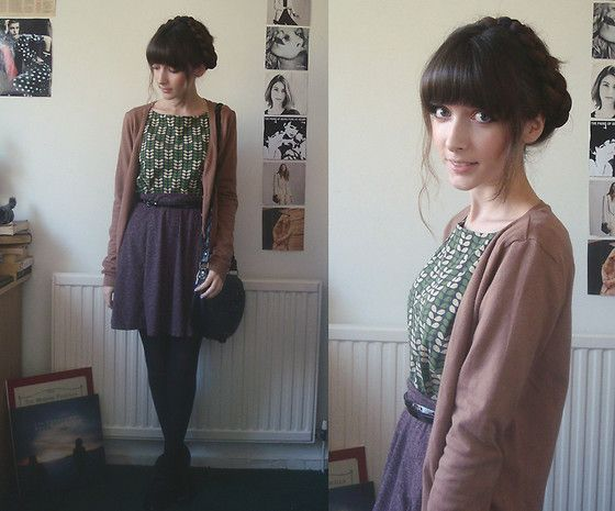 H Cardigan, Uniqlo X Orla Kiely Top, Topshop Skirt