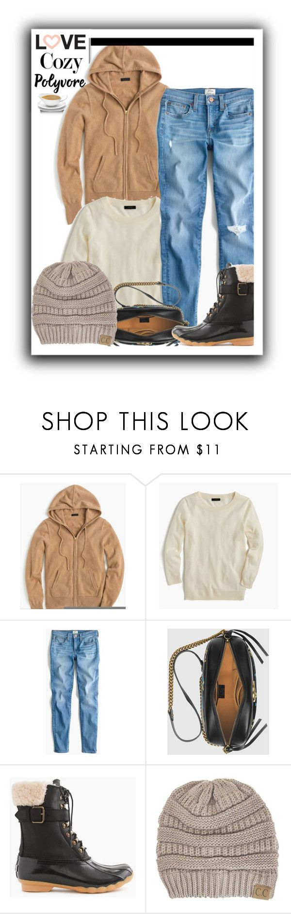 """""""Love Cozy Ladies"""" by heavenlyangel161 ❤ liked on Polyvore featuring J.Crew, Gucci, Sperry and C.C"""