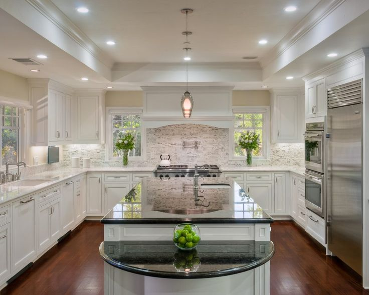 aran white granite kitchen traditional with burner gas and electric ranges • Stylehomepark.com