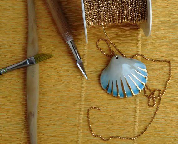 gioielli di porcellana spiaggia collana collana di sirena