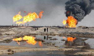 Excess gas is burned off at the Rumaila oilfield, Basra.