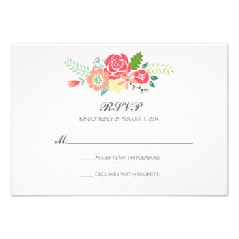 Simply Floral & Stripes Wedding RSVP / Mint. Modern mint stripes design on the back. #coral #bright #floral #stripes #striped #modern #elegant #flowers #mint #rsvp #green #bold #red #cute #spring #summer #floral #wedding #coral #wedding #modern #stripes #mint #wedding #mint #coral #wedding #mint #rsvp