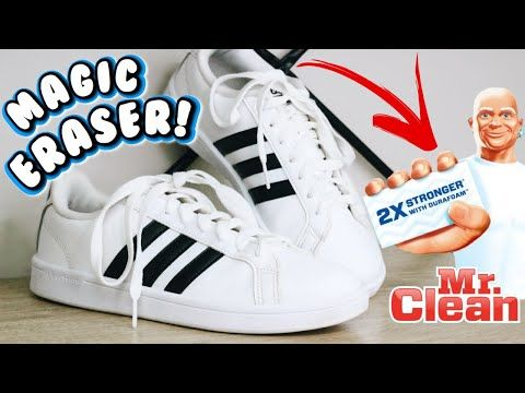 HOW TO CLEAN YOUR WHITE SHOES WITH MAGIC ERASER! | Cleaning