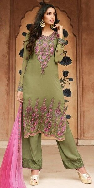 Glowing Green And Pink Georgette Straight Suit.