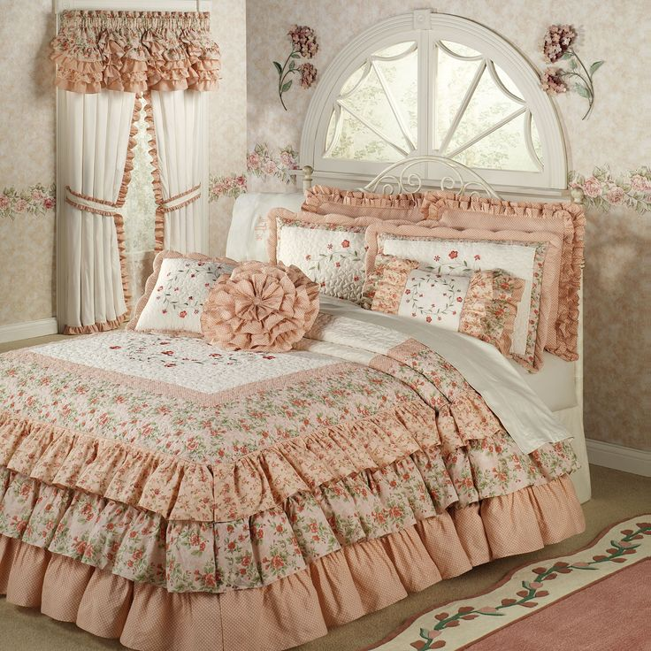 I Love this Melody Ruffled Grande Bedspread Coral from Touch of Class