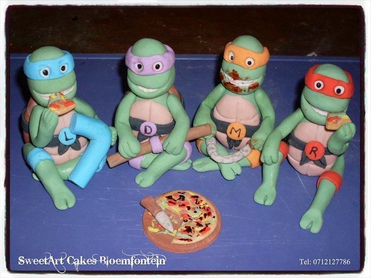 Fondant Ninja Turtles @ R75 each Pizza @ R15 (All figurines contain Tylose which preserves the figurine for an indefinite period of time) For more information & orders email SweetArtBfn@gmail.com or Call Lola 0712127786.