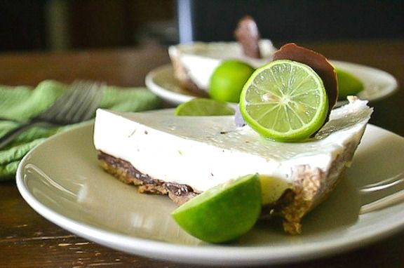 Chocolate-coated #vegan Key Lime Pie recipe from An Unrefined Vegan on @vegkitchen.