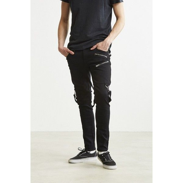 Tripp NYC Zippered Strap Skinny Pant ($95) ❤ liked on Polyvore featuring men's fashion, men's clothing, men's pants, men's casual pants, mens super skinny dress pants, mens skinny pants, mens skinny fit dress pants, mens zipper pants and mens punk pants
