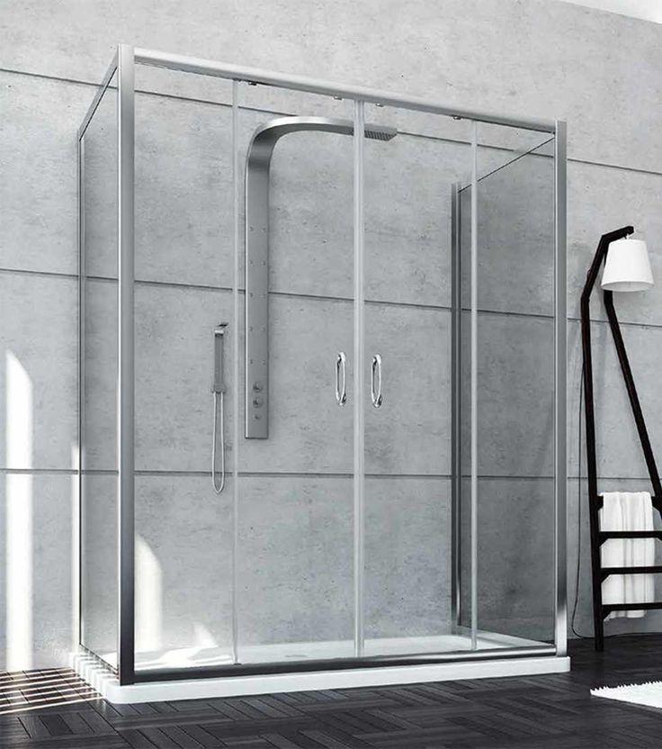 Box #doccia a penisola basso 2 ante scorrevoli con #cristalli in vetro temperato e struttura in #alluminio anodizzato