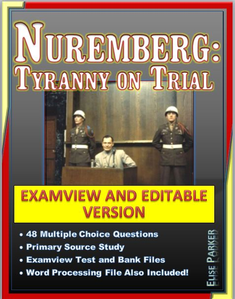 Bring the Nuremberg War Crimes Tribunal to vivid life with these Nuremberg Tyranny on Trial Worksheets! Microsoft Word format for easy editing, plus Examview versions for electronic and online use. Video can be shown in a single class period and really helps students understand the Holocaust and the Major War Criminals trial at Nuremberg! Includes 48 multiple choice question with free response option, plus a political cartoon analysis worksheet.
