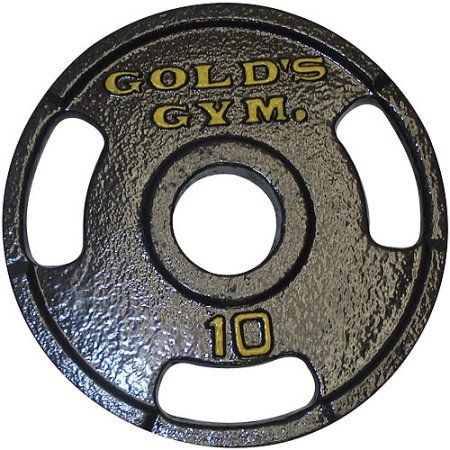 "Gold's Gym Grip Plate (10 Lbs., Set of 2). Solid cast-iron construction. 3-hole grip design for easy handling. Designed for 2"" bars. Baked enamel finish. Lift at home with these plates easily and comfortably."