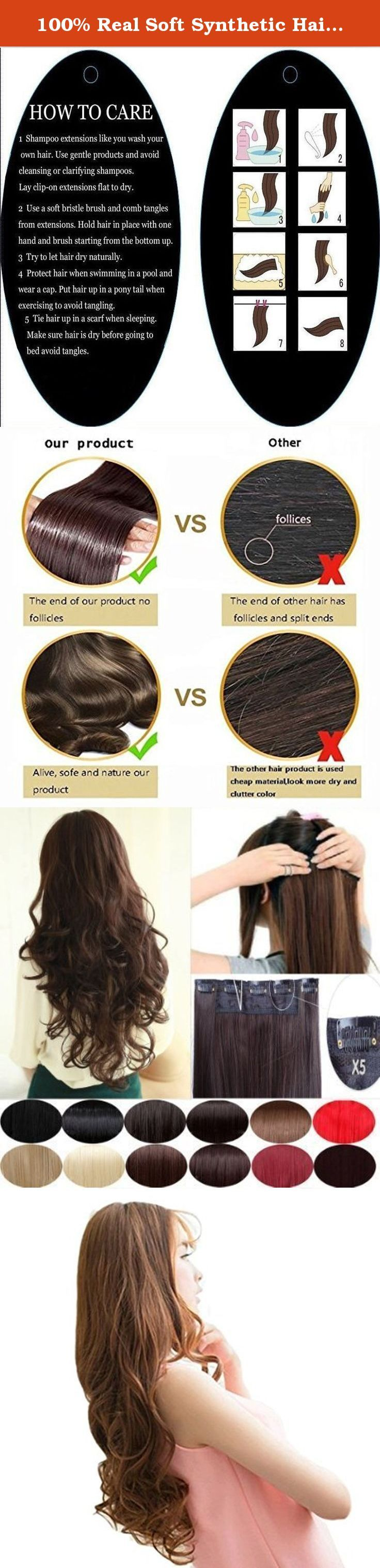 100% Real Soft Synthetic Hairpieces 24inch(61cm) long wavy curly natural black to dark blonde hair 1Pc with 5Clips Half Full Head Clip In Hair Extension for Elegant Lady. Synthetic fiber moves and feels like real human hair. This is Most affordable price and very easy to apply. Several pressure sensitive clips make attaching quick and easy. The best hair extension shopping options based on the price compare to real human hair extensions. Also the best choice for short term or entry level...