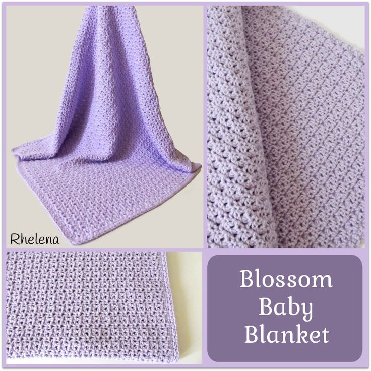 """FREE crochet pattern for a Blossom Baby Blanket. The finished blanket measures 30 x 30"""", making it great for a covering blanket in the crib or the stroller."""