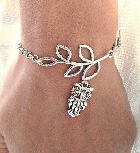 Silver Leaf branch With OWL Charm bracelet,leaf bracelet.