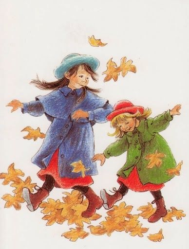 Kicking up leaves... by Ilon Wikland (Swedish illustrator, artist)