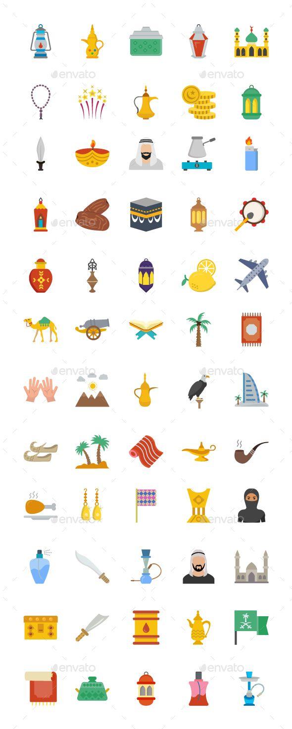 60 Flat Arab Heritage Vector icons #Arab, #Flat, #icons, #Vector