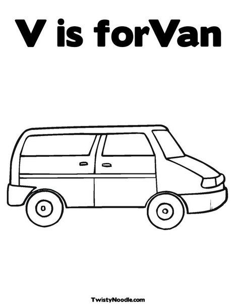 V Is ForVan Coloring Page From TwistyNoodle