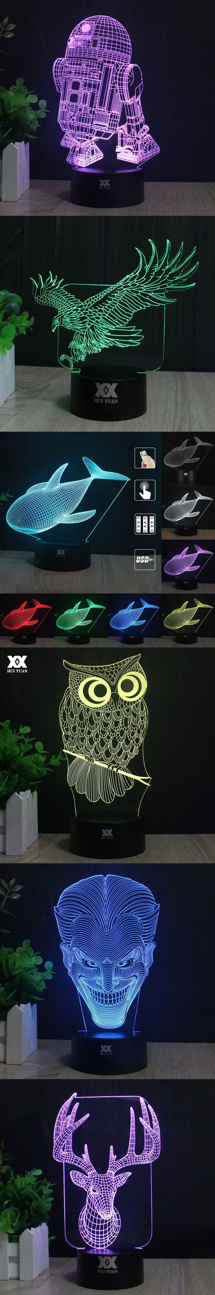 Owl Star Wars 3D Lamp Elk Death Star BB-8 Titanium fighters Batman LED Night Lights USB Child's Gift HUI YUAN Brand
