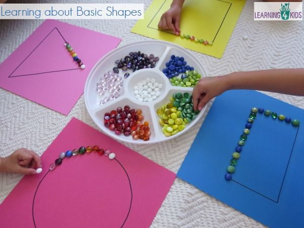 Simple small group activity learning about shapes- great for maths centres or…