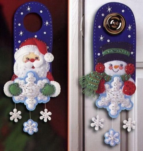 декор к новому году, новогодний декор из фетра своими руками, дед мороз санта клаус снеговик, простые выкройки, елочные игрушки из фетра
