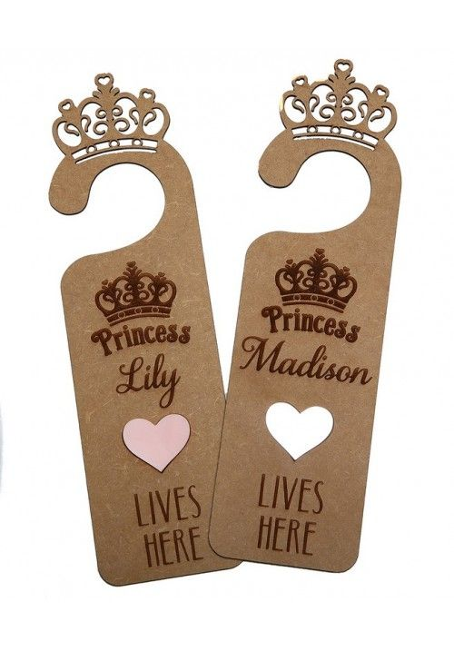 "Personalised ""Princess lives here""Door Hanger. #littlelumps #baby #nursery #southafrica"