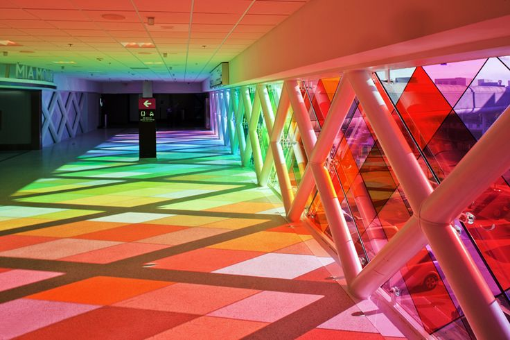 'harmonic convergence' installation by christopher janney, at the miami international airport in florida, USA.: Christopher Janney, Walkways, Window, California Home, Rainbows, International Airports, Colors Glasses, Miami Airports, Stained Glasses