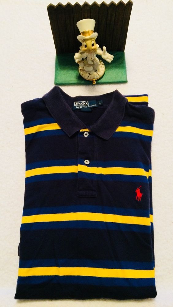 c87980cc3 Polo Ralph Lauren Mens Yellow Blue Navy Striped Short Sleeve Rugby Large..  Nice #PoloRalphLauren #PoloRugby
