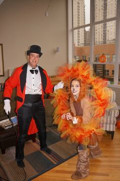 """Three colors of tulle to make the """"flames"""" for hoop. Halloween lion tamer costume idea."""