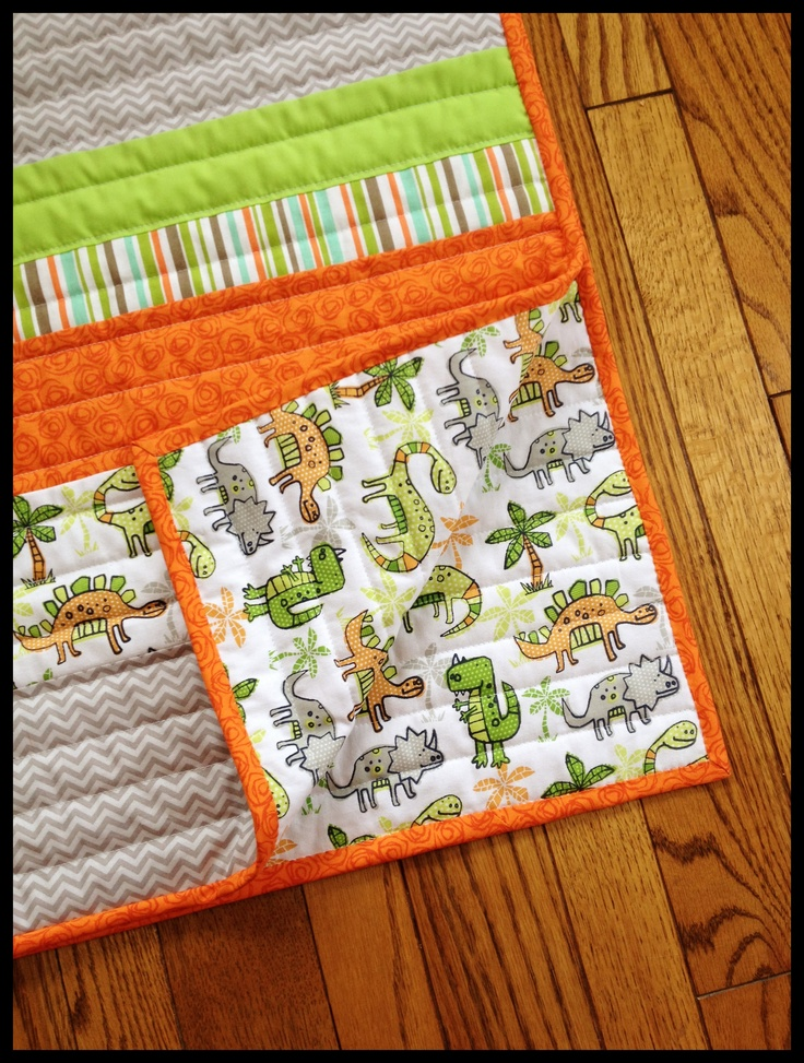 Baby boy dinosaur quilt fabric and sewing projects for Baby dinosaur fabric