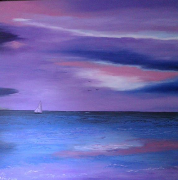Sailing into the Night Large Painting
