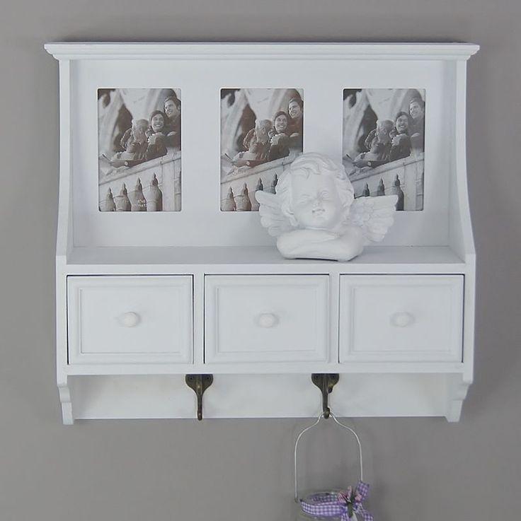 Drewniana garderoba, szuflady, ramki na zdjęcia, biały mat.