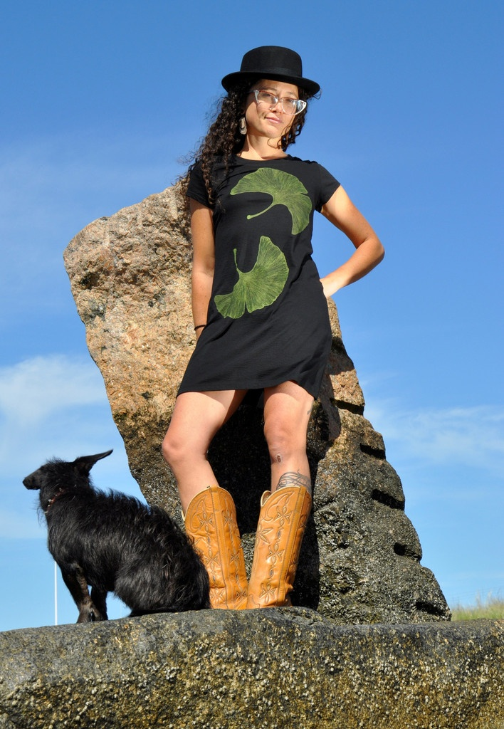 Ginkgo tee dress...love these delicate leaves!