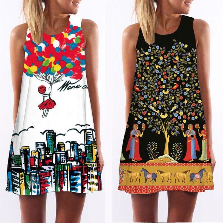 Aliexpress.com: Comprar 3D Print vintage vestido de verano 2016 de bohemia de la playa vestido de verano vestidos de las mujeres vestidos dashiki hippie de boho vestidos tallas grandes de vestidos de las muchachas tamaño 16 fiable proveedores en Women Clothing Dream