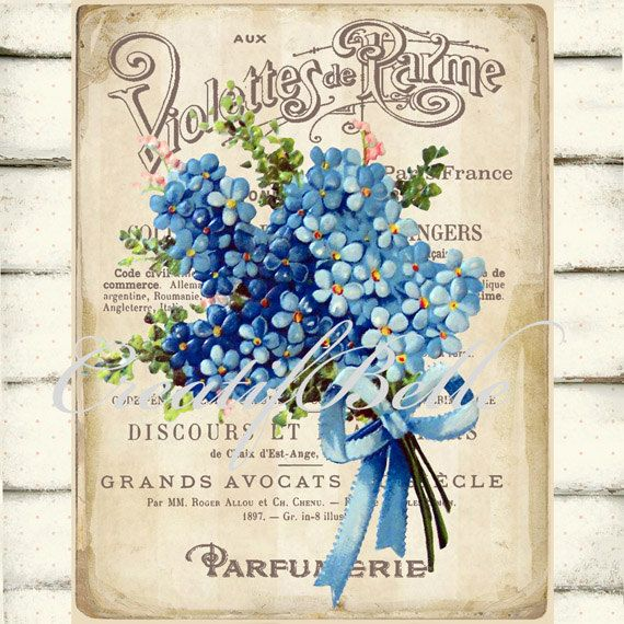 Vendimia francesa violetas Perfume etiqueta por CreatifBelle