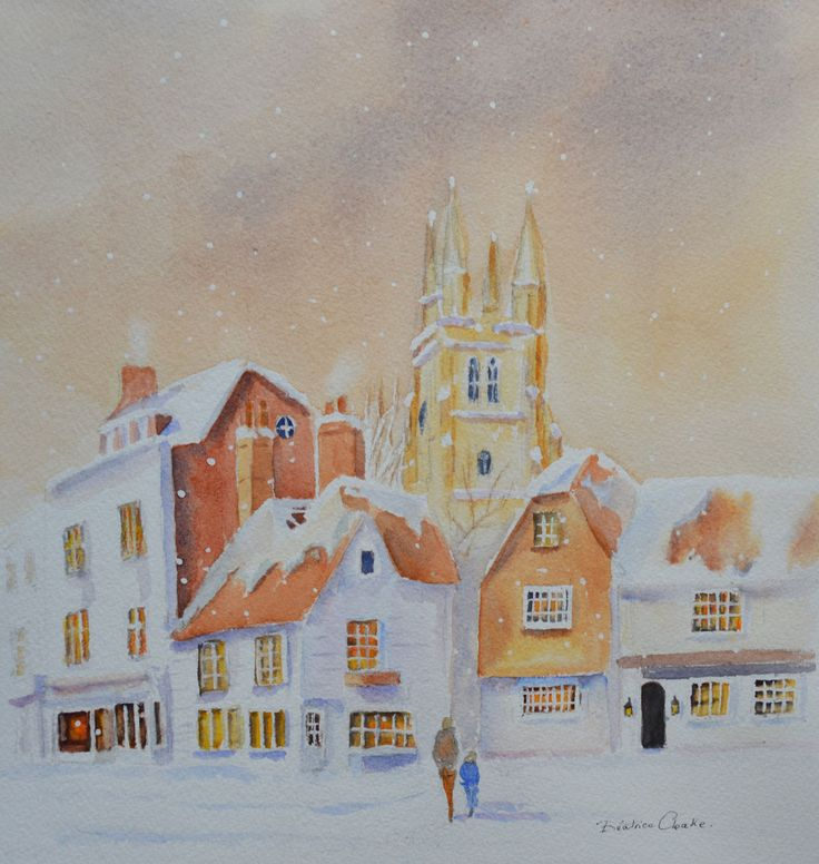 FINEARTSEEN - View WINTER IN TENTERDEN Kent by Beatrice Cloake N.A.P.A. A beautiful original Winter watercolour painting. Available on FineArtSeen - The Home Of Original Art. Enjoy Free Delivery with every order. << Pin For Later >>