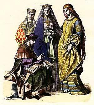 Женский костюм средневековья периода готики