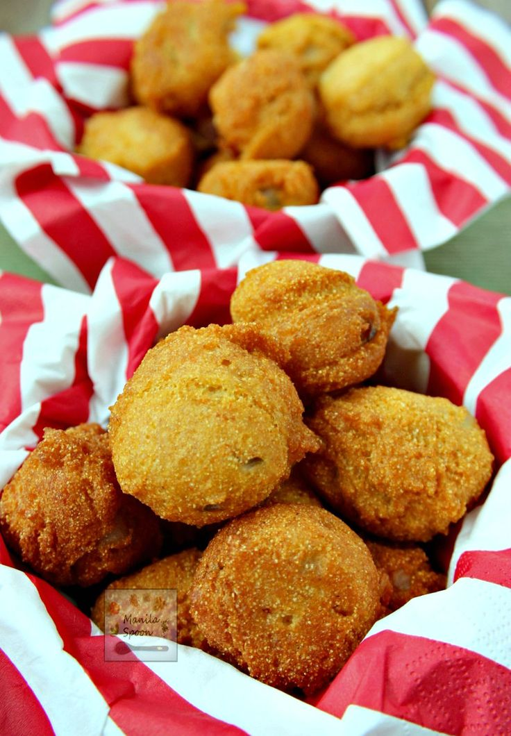 These delicious cornmeal fritters (hush puppies) flavored