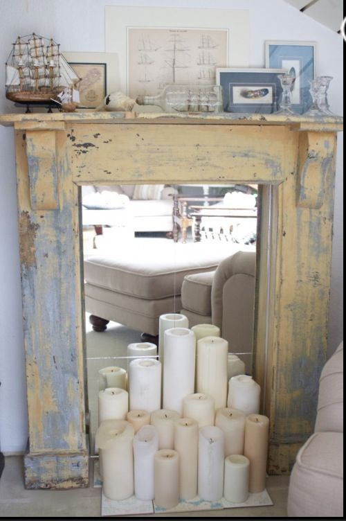 DIY Faux Fireplace- How to make DIY Faux fireplaces- tutorials! - kind of like the mantle with mirrors inside                                                                                                                                                     More