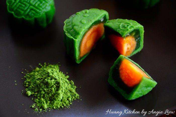 Matcha Green Tea Snowskin Mooncakes Recipe 绿茶冰皮月饼   Huang Kitchen