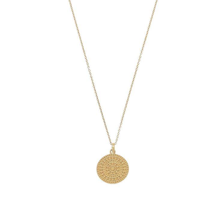 14k Gold Vermeil Small Aztec Pendant