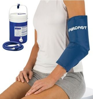 AIRCAST ELBOW CRYO/CUFF WITH COOLER - Provides compression to minimise bleeding ,swelling and pain. Ideal for treatment of sprained & dislocated elbow, elbow arthritis, Golfer & Tennis elbow, elbow fractures or following elbow surgery