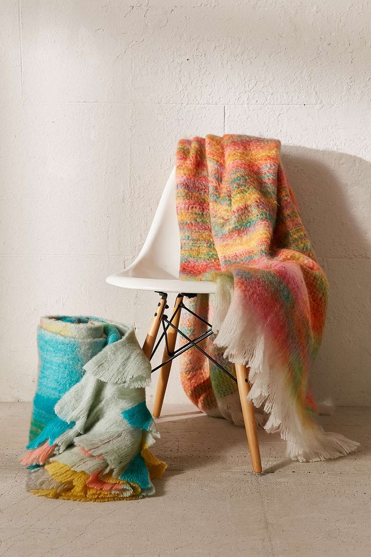 Sherbet Faux Mohair Throw Blanket
