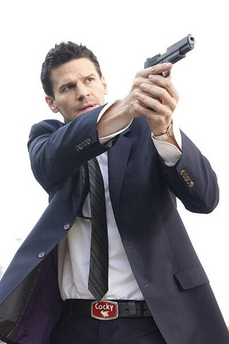 David Boreanaz as Special Agent Seeley Booth of the FBI from BONES. I love the COCKY buckle.