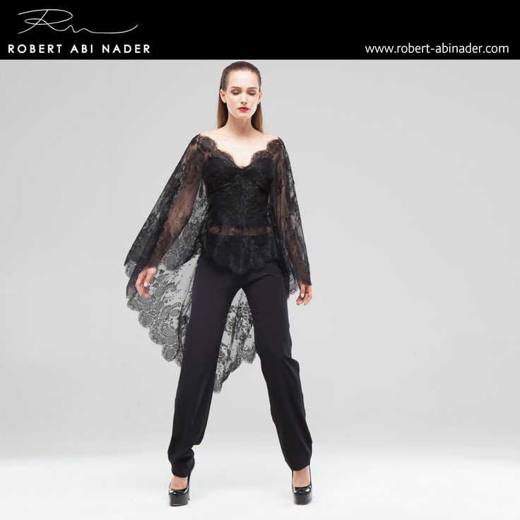 Robert Abi Nader - Ready to Wear - Spring Summer 2015 Fitted corset in black moroccan crepe with black chantilly lace veil. Straight pants in black moroccan crepe. #robertabinader #readytowear #dress #lace #black #wb #crepe #corset #moroccan #crep #embroidered #skin #tulle #fashionista #stylish #springsummer #lebanon #paris #london #beirut #princess #beauty #beautiful