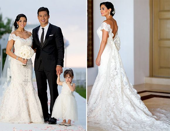 Courtney Mazza wore a ultra romantic Ines Di Santo gown for her Mexican wedding to Mario Lopez. #Celebrity #weddingdress #GabrielCo