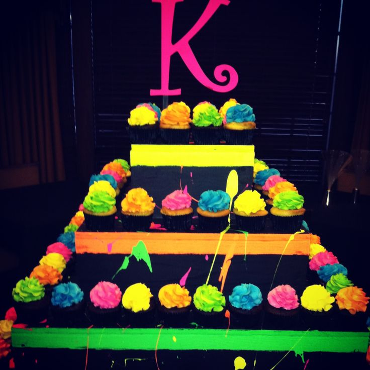 Neon Cup Cake Tower.