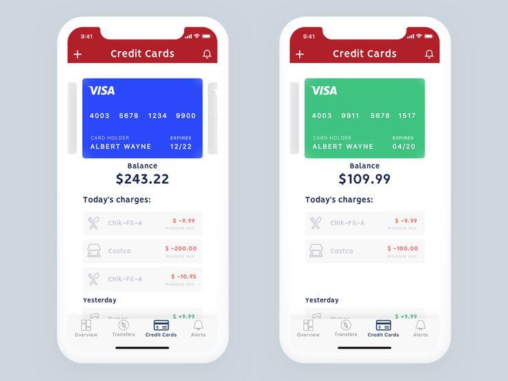 Bank app credit card screen banking app credit card app