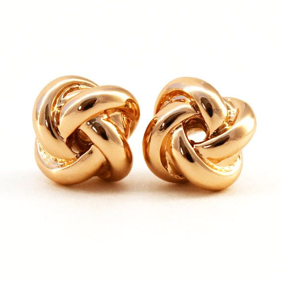 Rose Gold Plated Classic Design Love Knot Post Stud by MYROSEGOLDS
