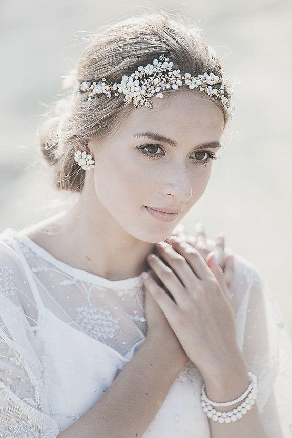 Bridal Headpiece , Gold Vintage Wedding  Hair Vine , Grecian Bridal Headband , Bohemian Bridal Hair Vine ,  Opal Crystal Pearl Headpiece